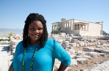 In summer 2006, I galavanted around Greece for three months as I co-wrote a travel guidebook. In Athens, I traded a headful of frizzy twists (above, on the grounds of The Acropolis) for a fresh set of braids.