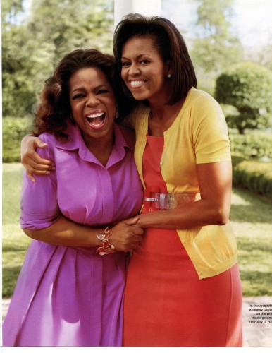A few weeks after the First Lady moved into the White House, Oprah interviewed her for the magazine. As the editor for Oprah's story, I traveled along with her and met Mrs. Obama. We sat down for the conversation in the Yellow Oval Room. Very fun.